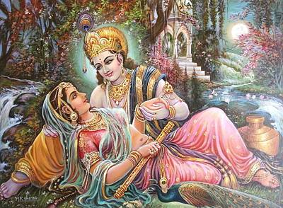 Painting - Radha Krishna Oil Canvas Painting by Mayur Sharma
