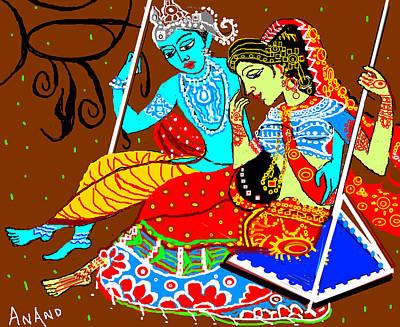 Radha Krishna On A Swing-13 Art Print by Anand Swaroop Manchiraju