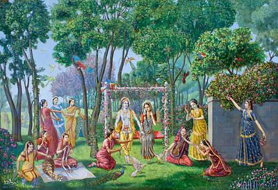 Radha Krishna On The Swing Print by Dominique Amendola