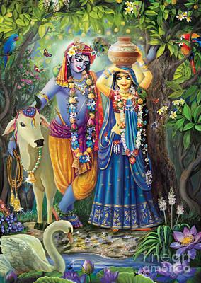 Painting - Radha-krishna Radhakunda by Lila Shravani
