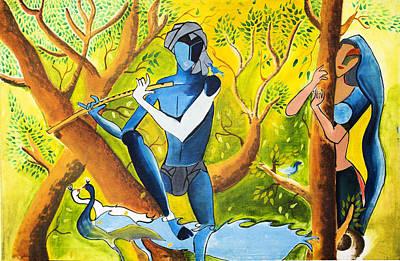Religious Art Mixed Media - Radha Krishna by Vicasso Destiny