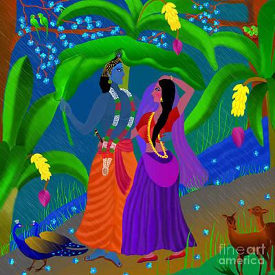 Diwali Digital Art - Radha Likes Rain by Latha Gokuldas Panicker