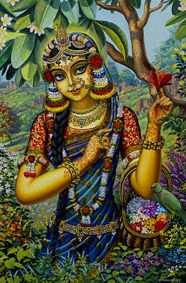 Parrot Art Painting - Radha On Govardhan Hill by Vrindavan Das