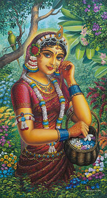 Temple Painting - Radharani In Garden by Vrindavan Das