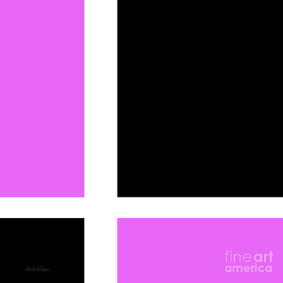 Digital Art - Radiant Orchid And Black 2 Square by Andee Design