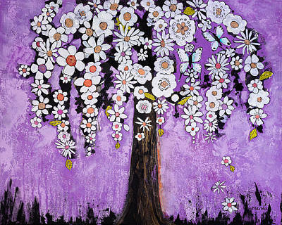 Orchid Art Painting - Radiant Orchid Flower Tree by Blenda Studio