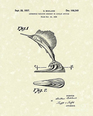 Swordfish Drawing - Radiator Ornament 1937 Patent Art by Prior Art Design