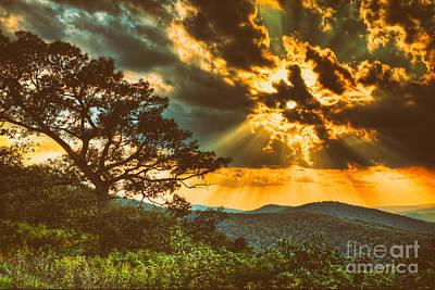 Commercial Design Mixed Media - Radical Blue Ridge Sunset  II by Dan Carmichael