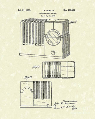 Morgan Drawing - Radio Cabinet 1936 Patent Art by Prior Art Design