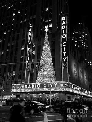 Photograph - Radio City Christmas Tree Black And White by Miriam Danar