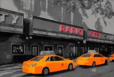 New Mind Digital Art - Radio City Music Hall And Taxis Pop Art by Dan Sproul