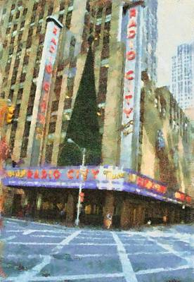 Nyc Mixed Media - Radio City Music Hall At Christmas by Dan Sproul