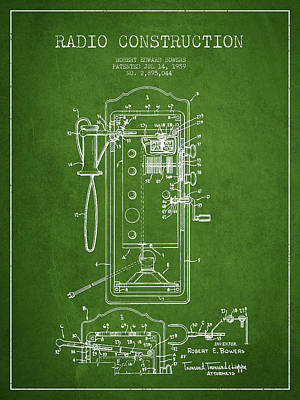 Radio Constuction Patent Drawing From 1959 - Green Art Print by Aged Pixel