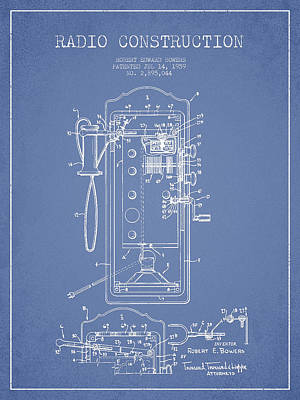 Radio Constuction Patent Drawing From 1959 - Light Blue Art Print by Aged Pixel