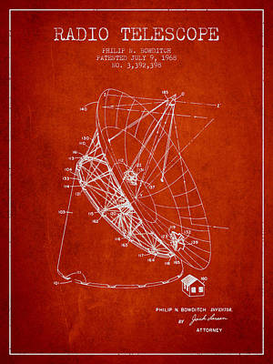 Winter Animals - Radio telescope Patent from 1968 - Red by Aged Pixel