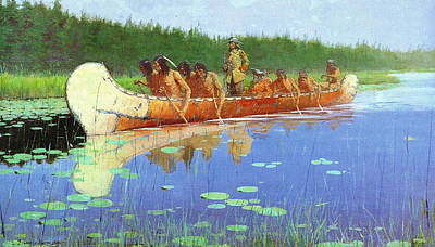 Canoe Digital Art - Radisson And Groseilliers by Fredrick Remington