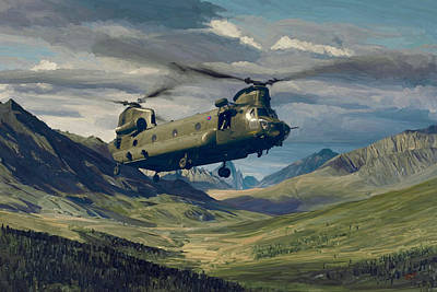 Briex Painting - Raf Chinook Ch-47 On Exercise by Nop Briex