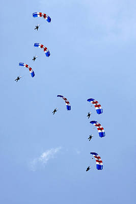 Photograph - Raf Falcons Parachute Display by Steve Ball
