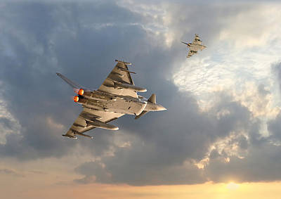 Skyscape Digital Art - Raf Typhoon  -  Evensong by Pat Speirs