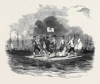 Raiders Drawing - Raft Dance At The Squadron Regatta, Cork by English School