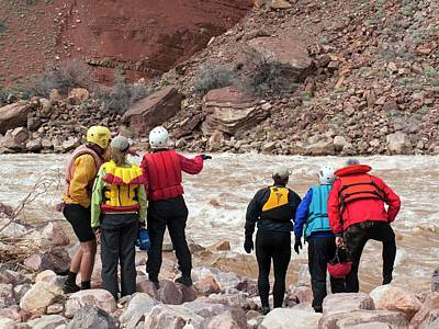 Grand Canyon Photograph - Rafters Scouting Rapids by Jim West