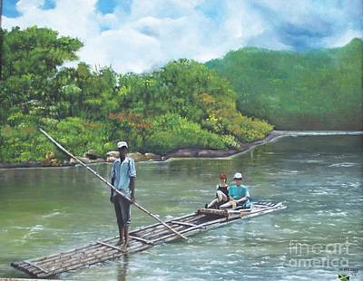 Jamaican Painting - Rafting  by Kenneth Harris