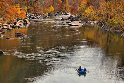 Rafting The New River Art Print