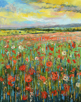 Poppies Field Painting - Raga Jhinjhoti by Michael Creese
