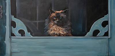 Sara Habecker Folk Print - Ragdoll Cat Blue Eyes Inside by Christine Montague