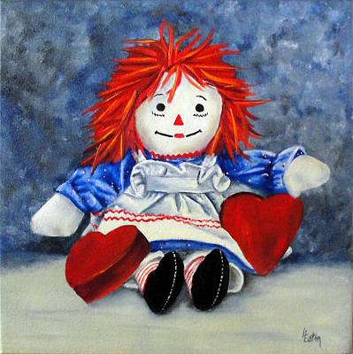Raggedy Ann With Hearts Art Print by Helen Eaton