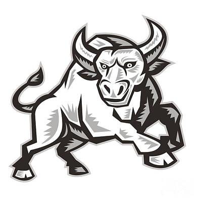 Raging Digital Art - Raging Bull Attacking Charging Woodcut  by Aloysius Patrimonio