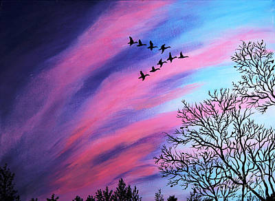 Raging Sky And Canada Geese Art Print by Barbara Griffin