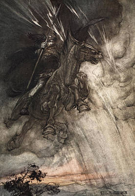Horses Drawing - Raging, Wotan Rides To The Rock! Like by Arthur Rackham