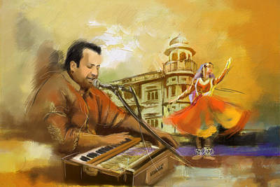Painting - Rahat Fateh Ali Khan by Catf