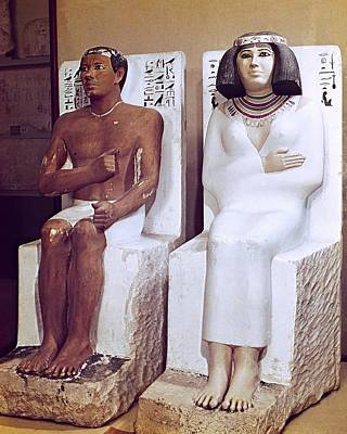 Statue Portrait Photograph - Rahotep And His Wife, Nofret. 2620 Bc by Everett