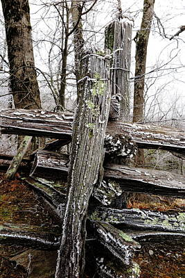 Rail Fence With Ice Art Print by Daniel Reed