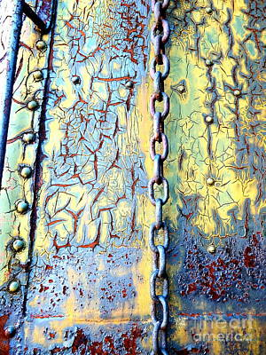 Heavy Weather Digital Art - Rail Rust - Abstract - In Chains by Janine Riley