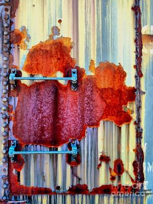Photograph - Rail Rust - Abstract - Studs And Stripes by Janine Riley