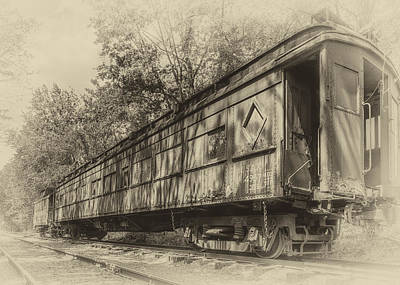 Old Caboose Photograph - Railcar And Caboose by Larry Helms