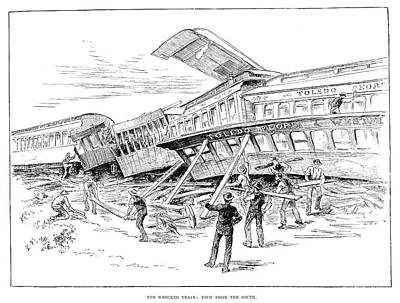 Wreckage Painting - Railroad Accident, 1887 by Granger