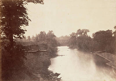Grasshopper Drawing - Railroad Bridge Across Grasshopper Creek by Litz Collection