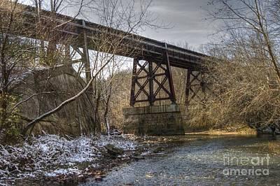 Locamotive Photograph - Railroad Bridge Over Little Darby Creek 01 by J M Lister