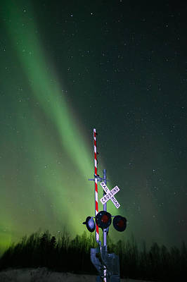 Aurora Photograph - Railroad Crossing Aurora 2 by Dora Miller