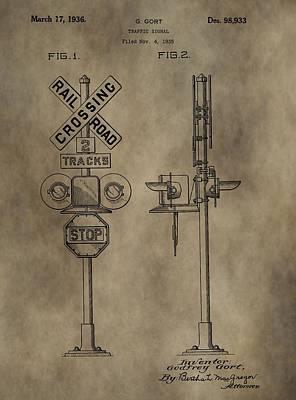 Railroad Crossing Patent Print by Dan Sproul