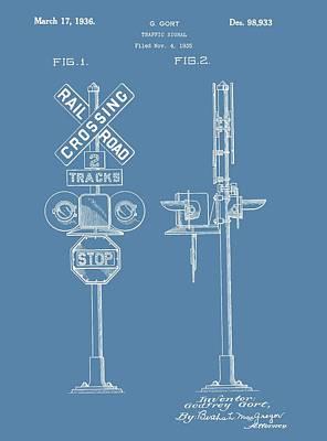 Railroad Crossing Patent On Blue Art Print