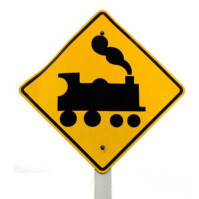 American Milestones - Railroad Crossing steam engine roadsign on white by Stephan Pietzko