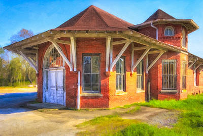 Photograph - Railroad Depot In Marshallville Georgia - Vintage Americana by Mark E Tisdale