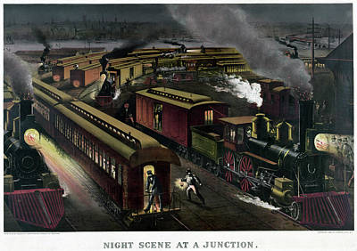 Junction Drawing - Railroad Junction, C1885 by Granger
