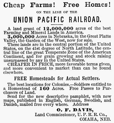 Destiny Painting - Railroad Land Sale, 1872 by Granger