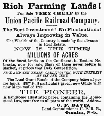Destiny Painting - Railroad Land Sale, 1874 by Granger